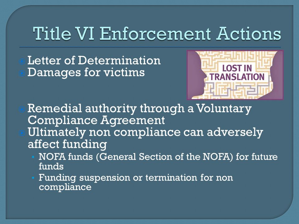 Title VI Enforcement Actions