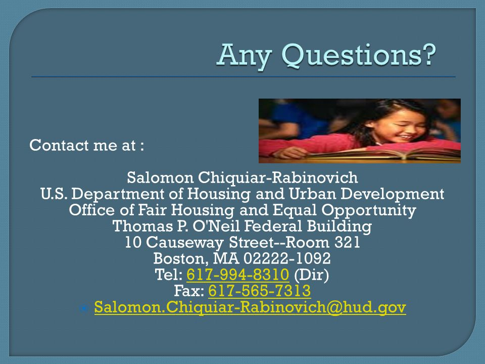 Any Questions Contact me at : Salomon Chiquiar-Rabinovich