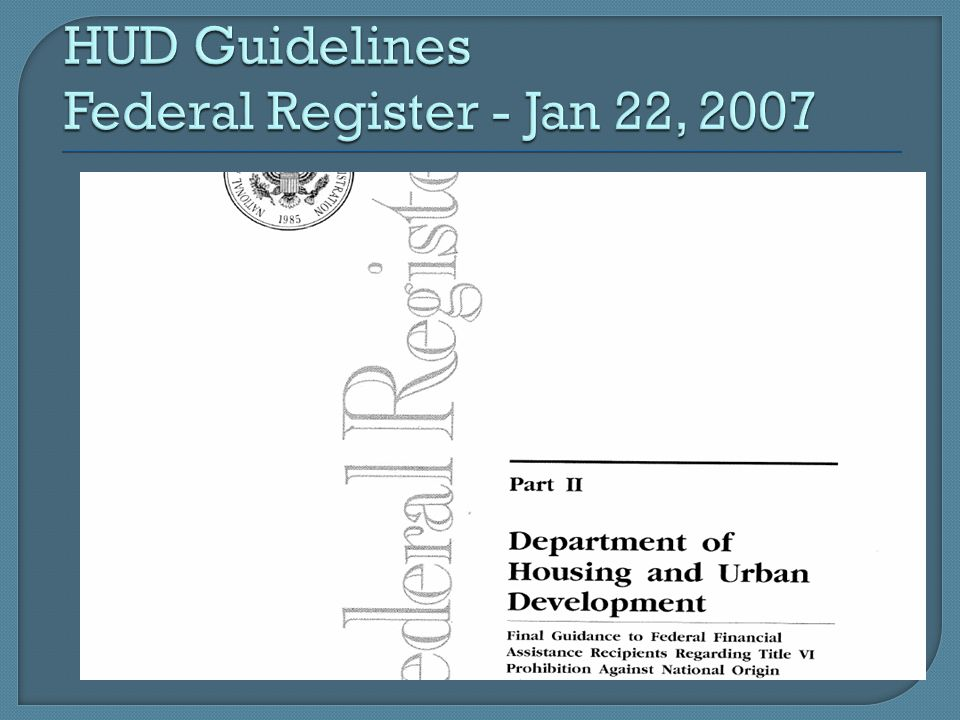HUD Guidelines Federal Register - Jan 22, 2007
