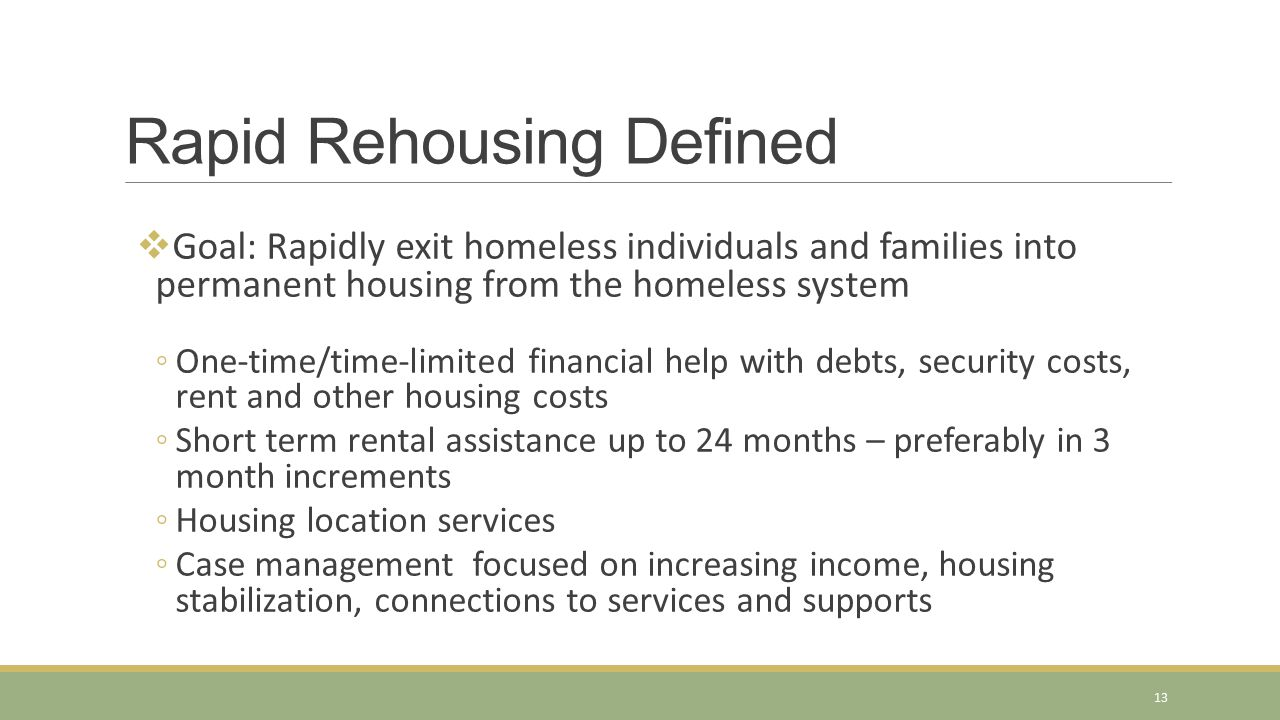 Rapid Rehousing Defined