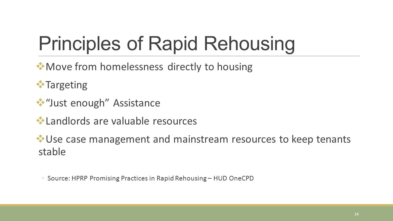 Principles of Rapid Rehousing