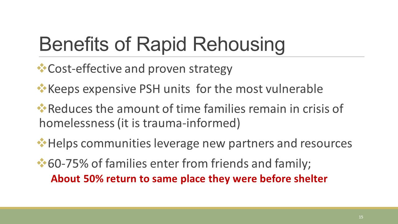Benefits of Rapid Rehousing