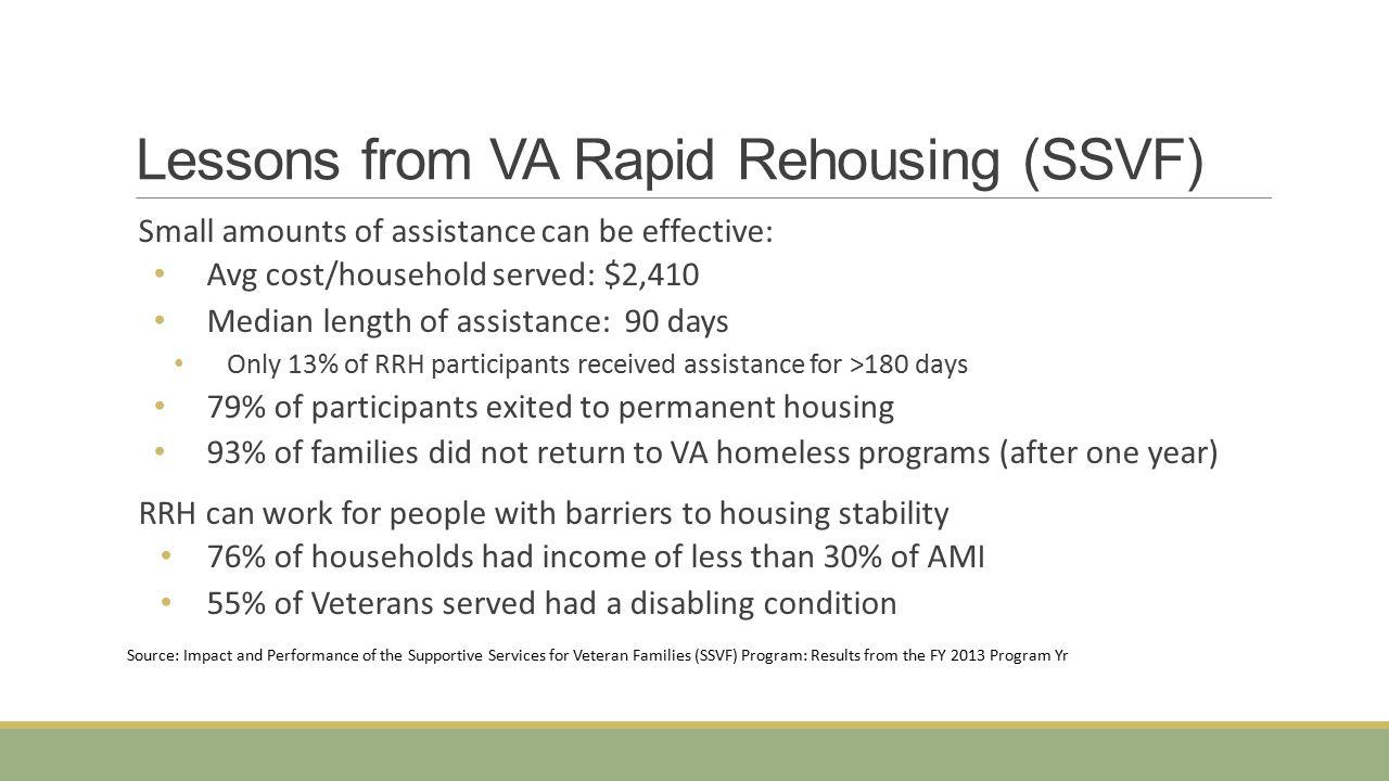 Lessons from VA Rapid Rehousing (SSVF)