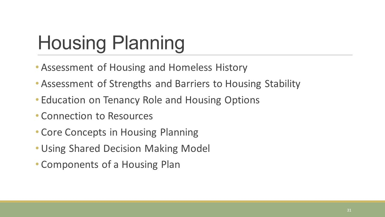 Housing Planning Assessment of Housing and Homeless History