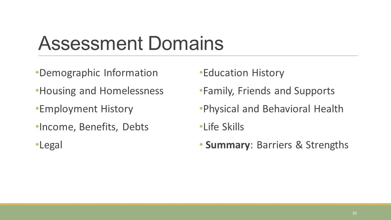 Assessment Domains Demographic Information Housing and Homelessness