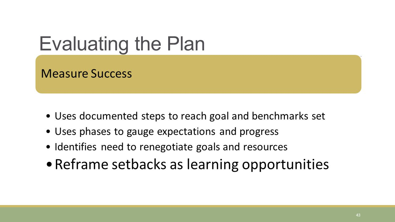 Evaluating the Plan Reframe setbacks as learning opportunities
