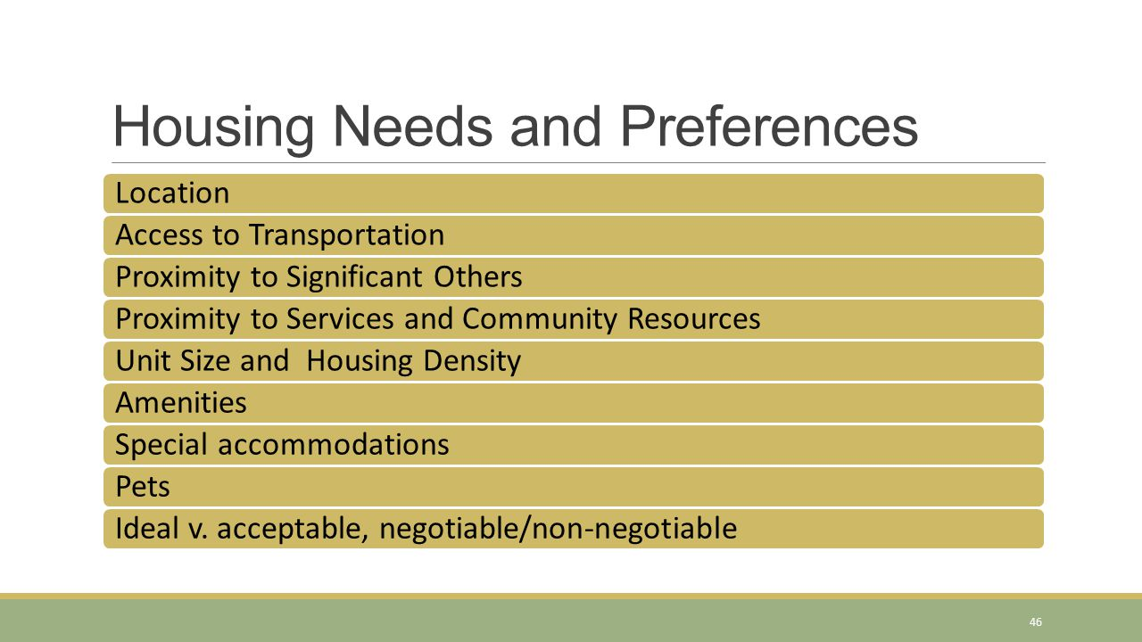 Housing Needs and Preferences