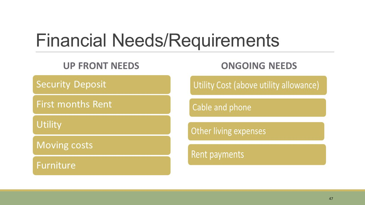 Financial Needs/Requirements