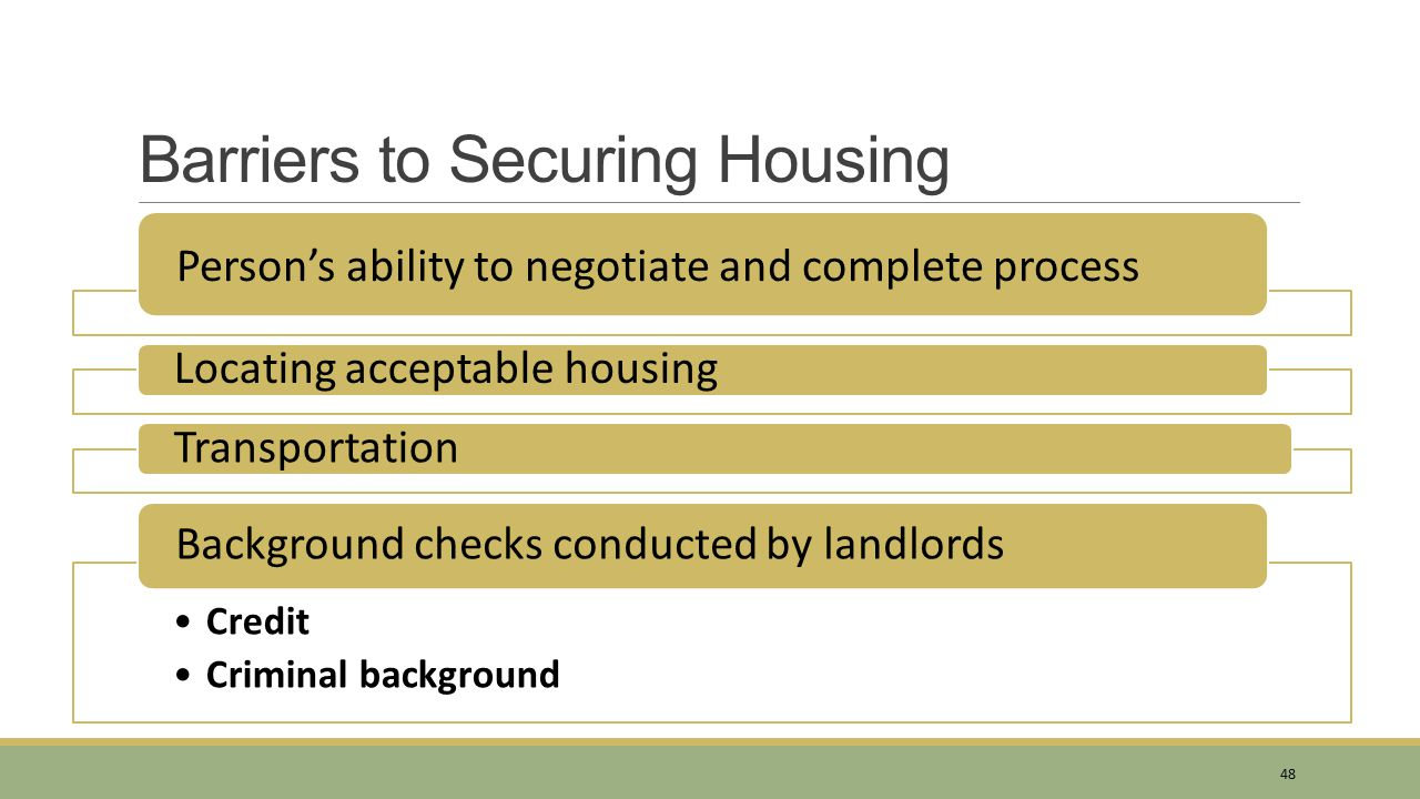 Barriers to Securing Housing
