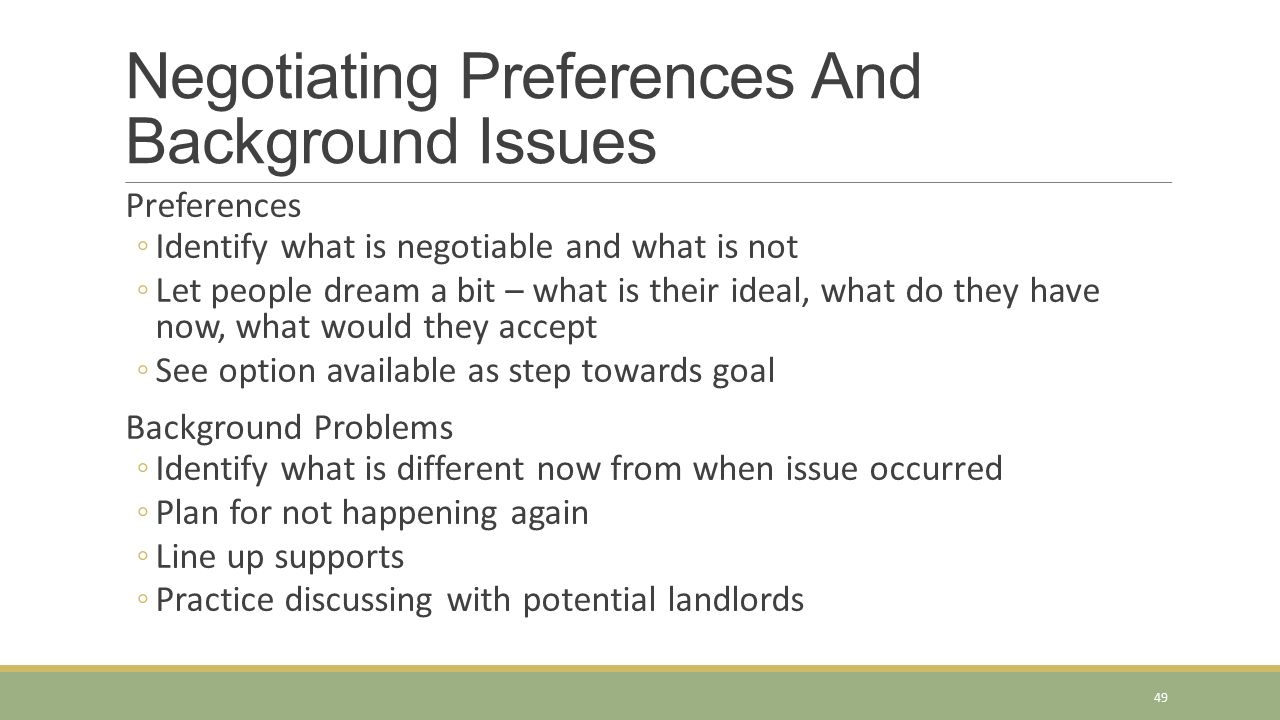 Negotiating Preferences And Background Issues