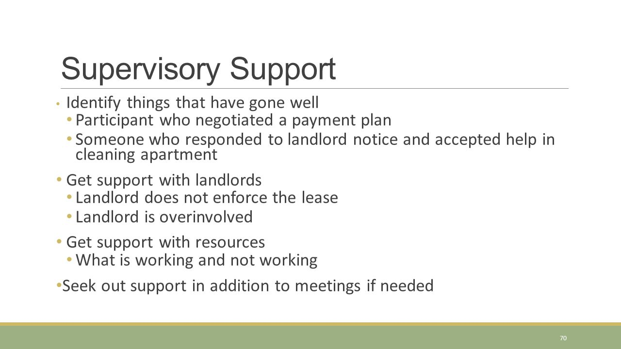 Supervisory Support Participant who negotiated a payment plan