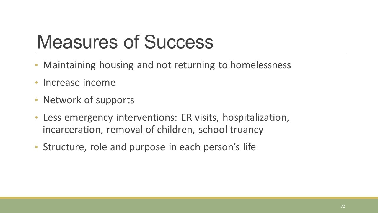 Measures of Success Maintaining housing and not returning to homelessness. Increase income. Network of supports.