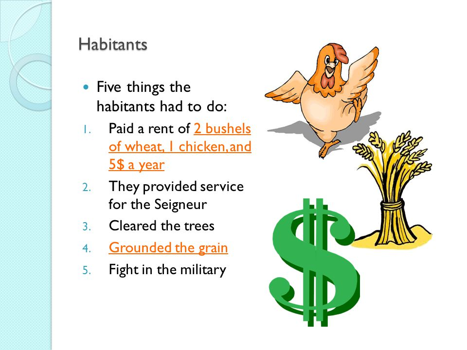 Habitants Five things the habitants had to do: