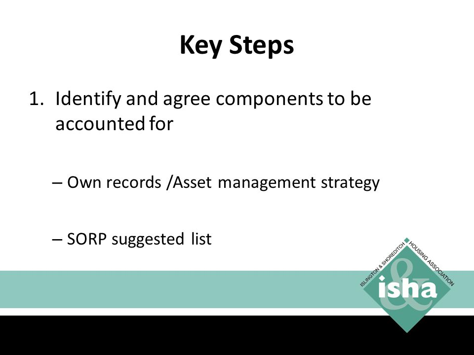 Key Steps Identify and agree components to be accounted for
