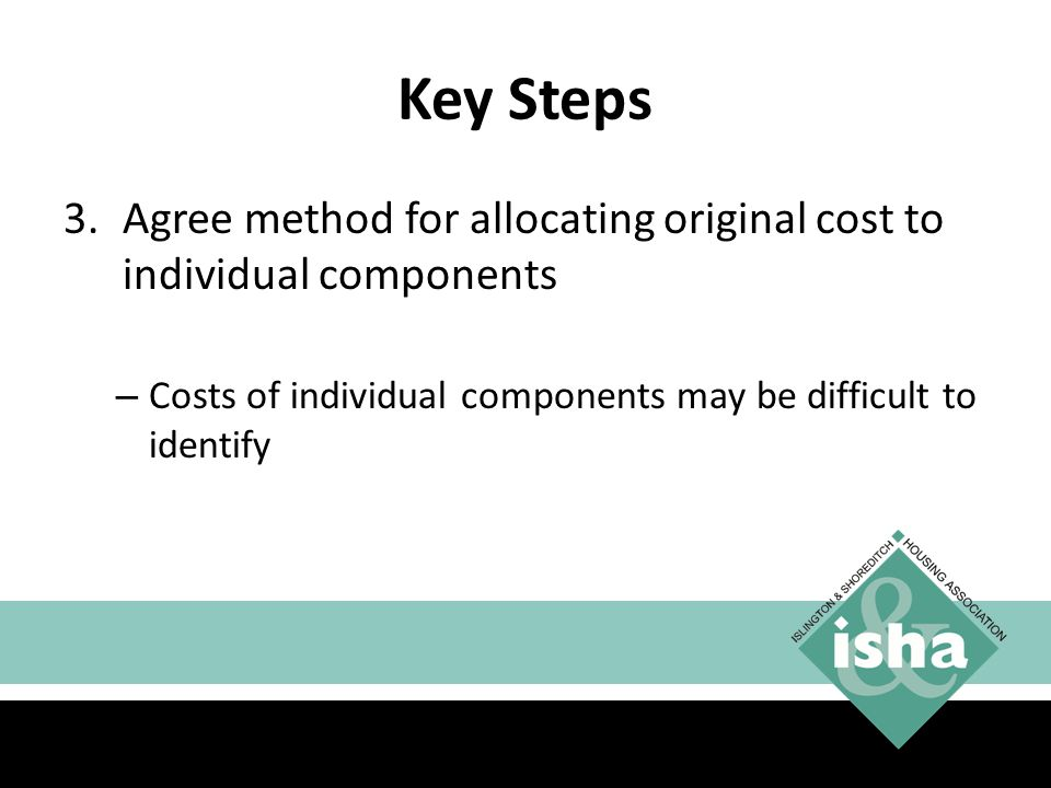 Key Steps Agree method for allocating original cost to individual components.