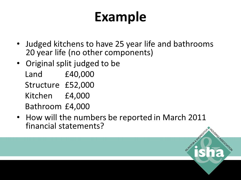 Example Judged kitchens to have 25 year life and bathrooms 20 year life (no other components) Original split judged to be.