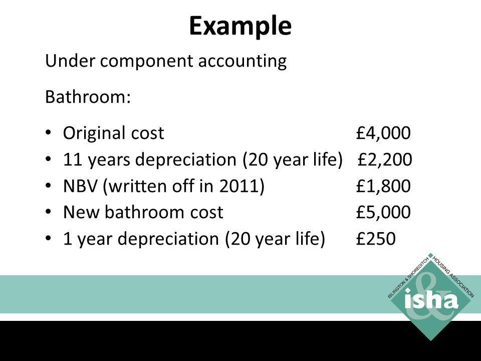 Example Under component accounting Bathroom: Original cost £4,000