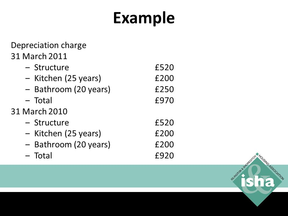 Example Depreciation charge 31 March 2011 Structure £520