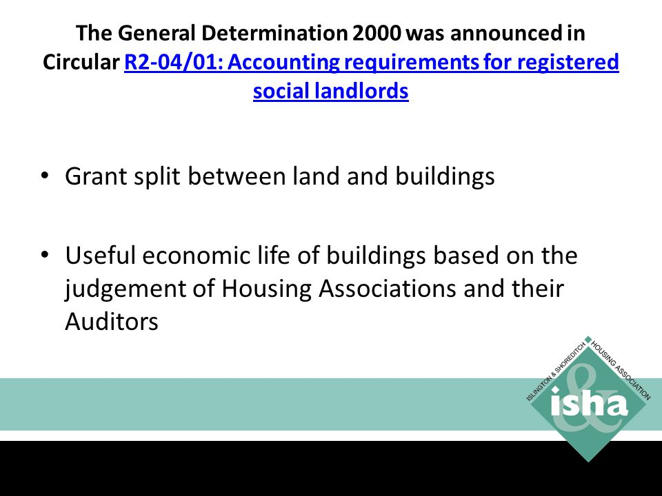 Grant split between land and buildings