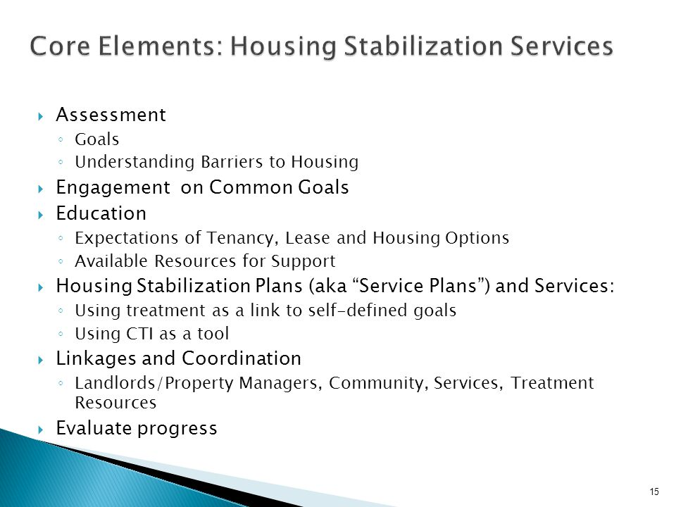 Core Elements: Housing Stabilization Services