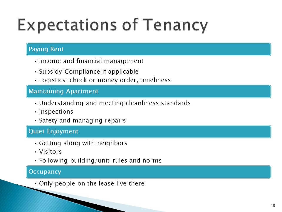 Expectations of Tenancy