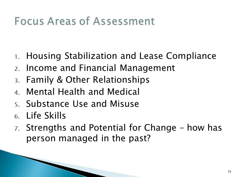 Focus Areas of Assessment
