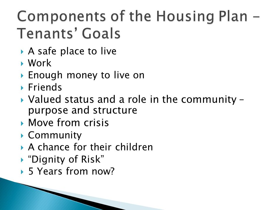 Components of the Housing Plan - Tenants' Goals