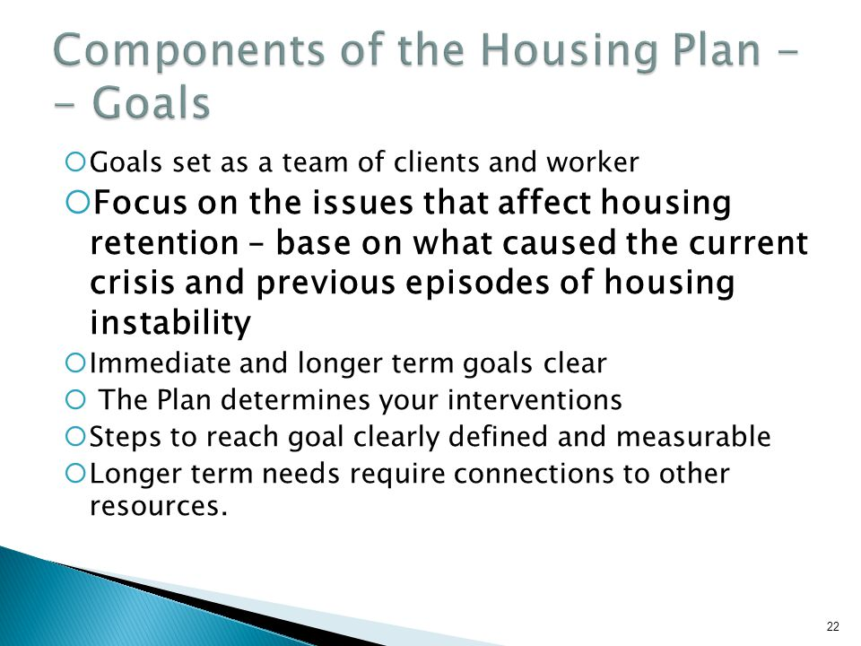 Components of the Housing Plan -- Goals
