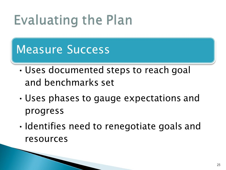 Evaluating the Plan Measure Success