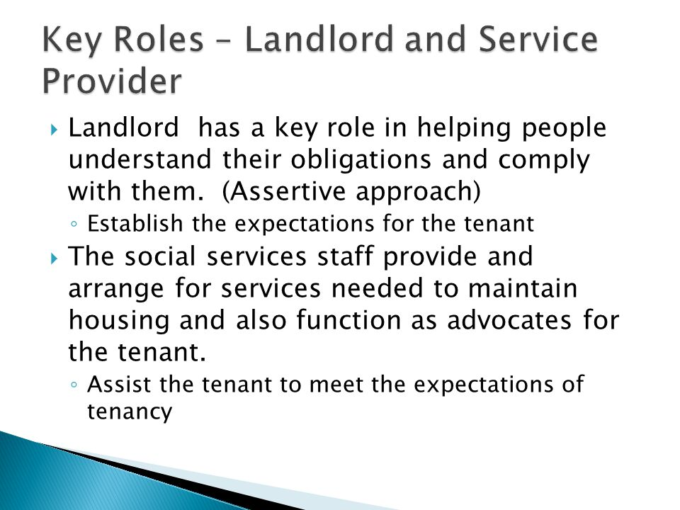 Key Roles – Landlord and Service Provider