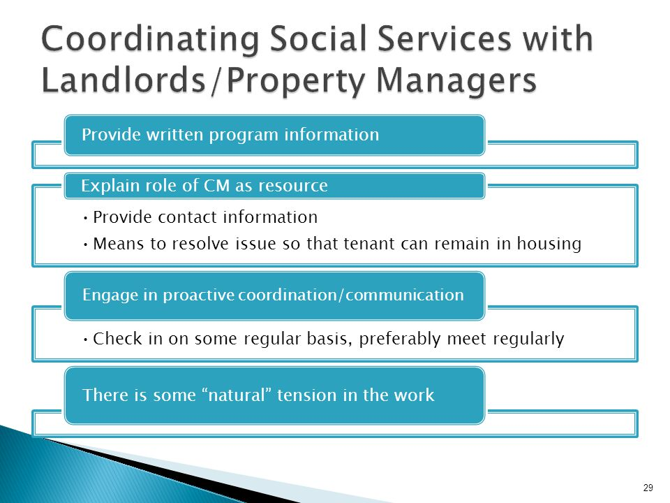 Coordinating Social Services with Landlords/Property Managers
