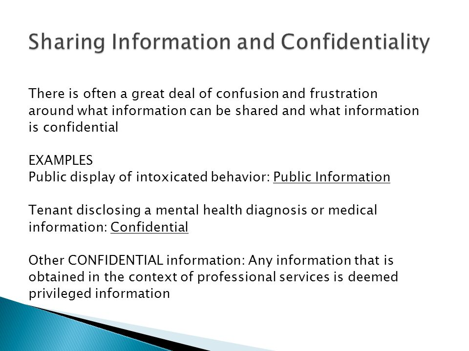 Sharing Information and Confidentiality