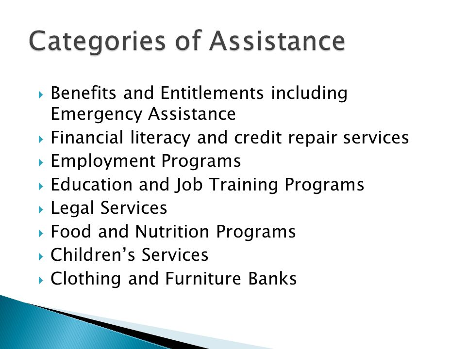 Categories of Assistance