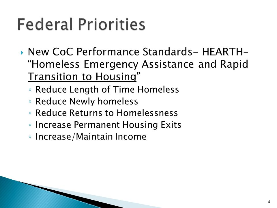 Federal Priorities New CoC Performance Standards- HEARTH– Homeless Emergency Assistance and Rapid Transition to Housing