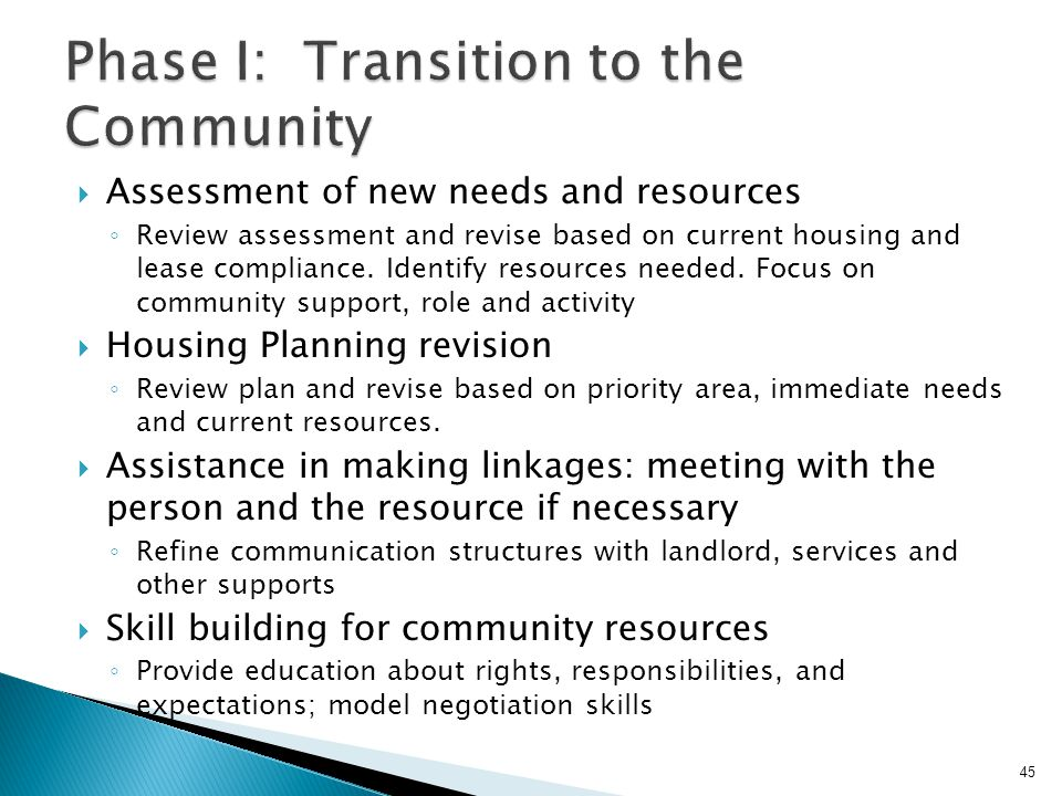 Phase I: Transition to the Community