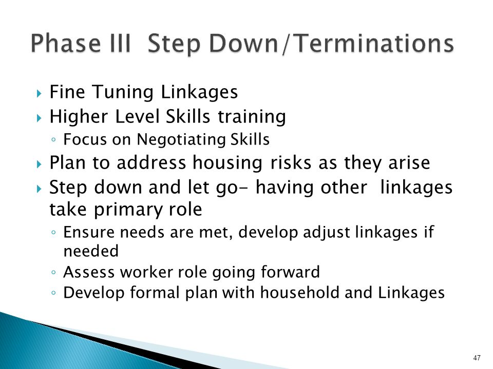 Phase III Step Down/Terminations