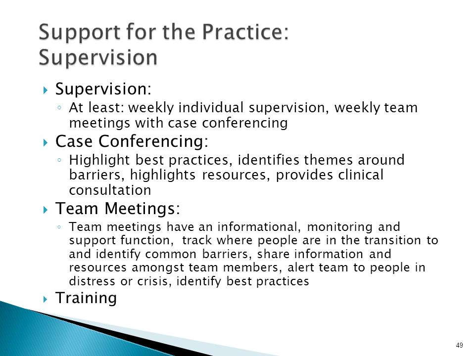Support for the Practice: Supervision