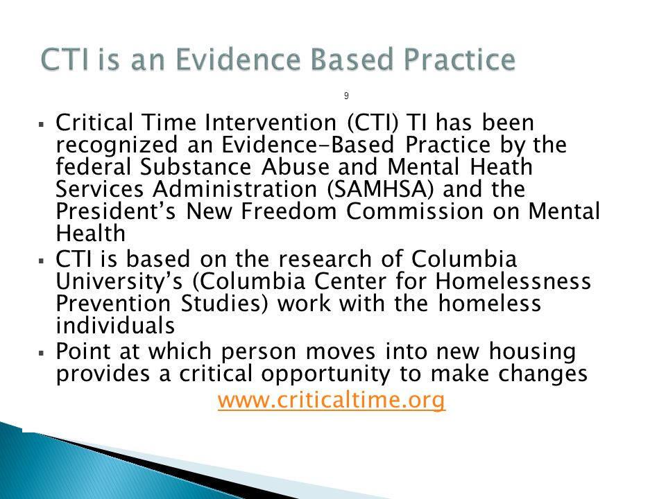 CTI is an Evidence Based Practice
