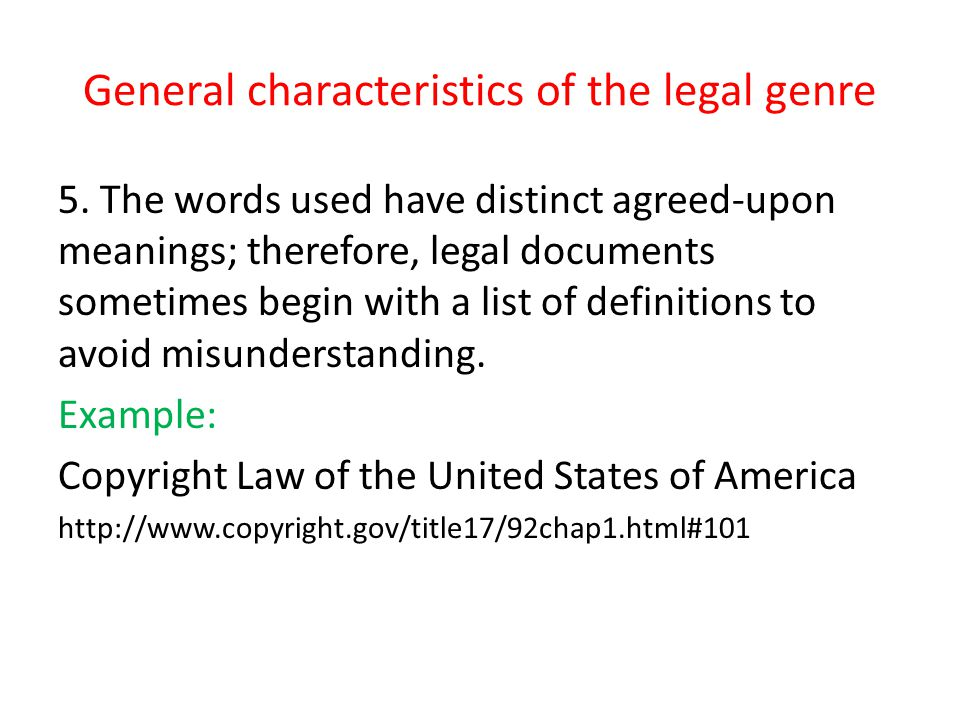 General characteristics of the legal genre