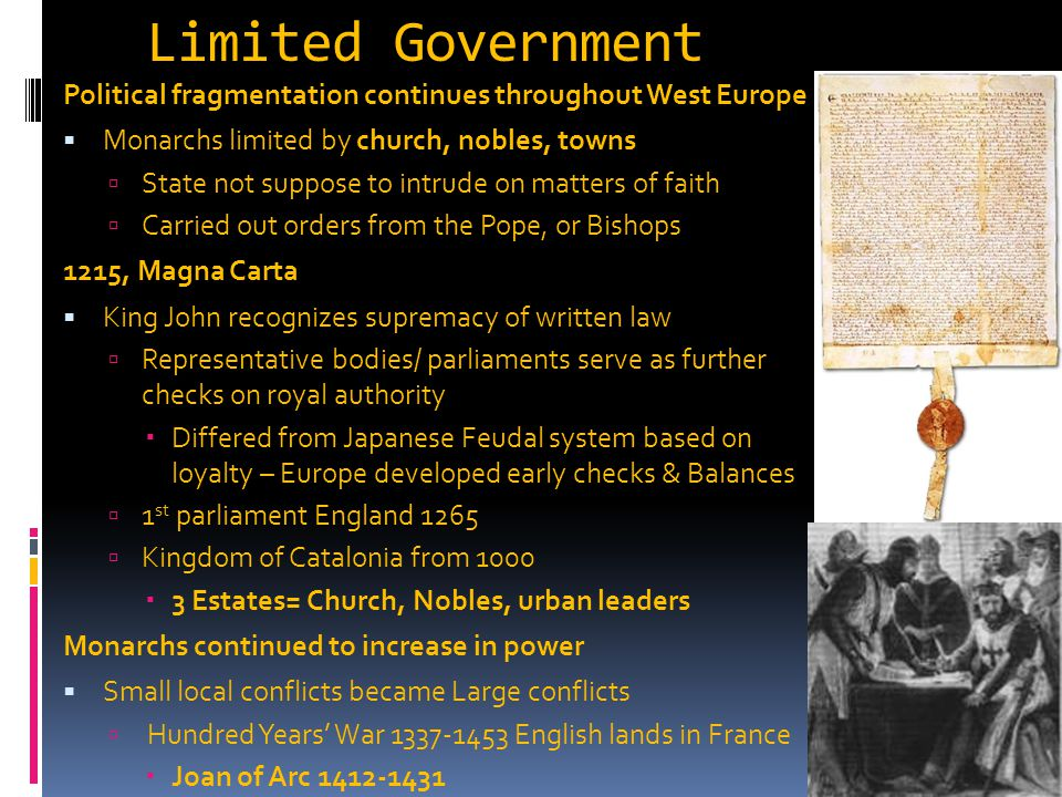Limited Government Political fragmentation continues throughout West Europe. Monarchs limited by church, nobles, towns.