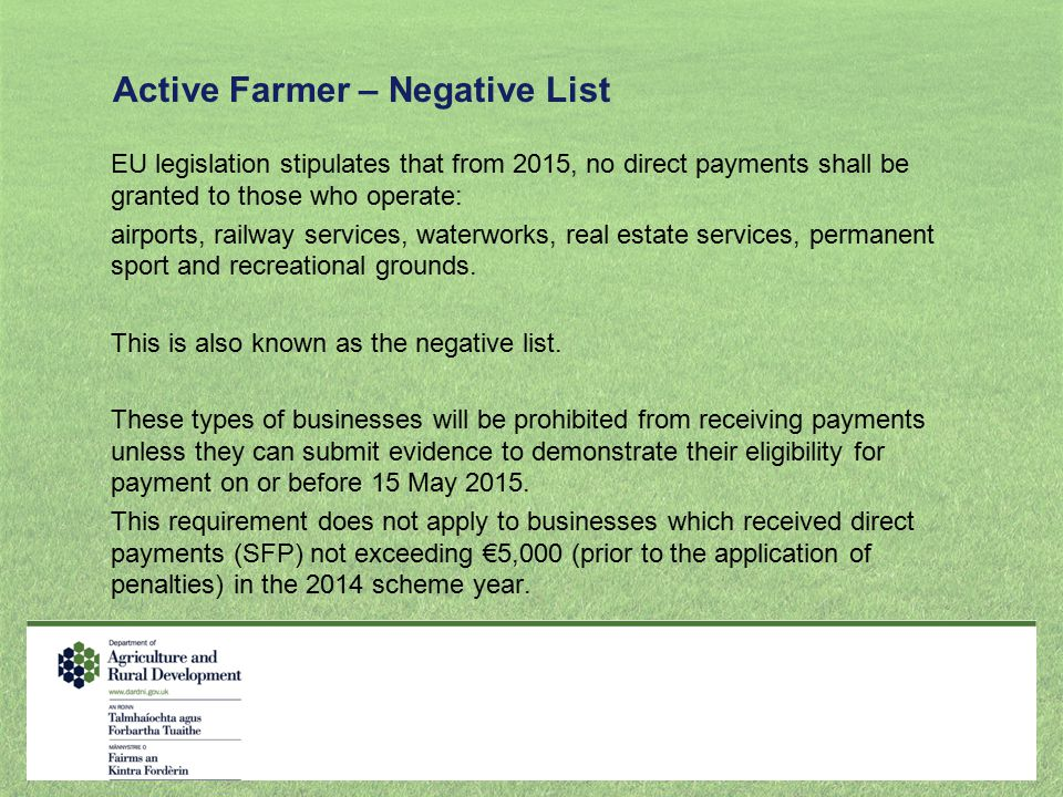 Active Farmer – Negative List