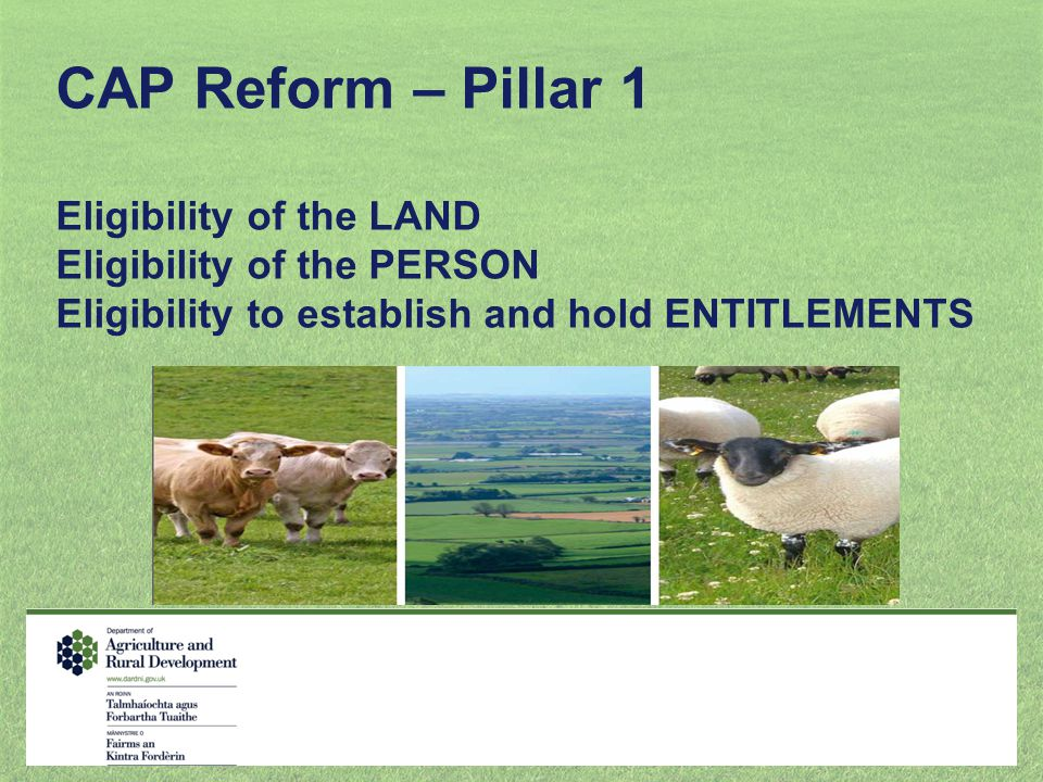 CAP Reform – Pillar 1 Eligibility of the LAND Eligibility of the PERSON Eligibility to establish and hold ENTITLEMENTS
