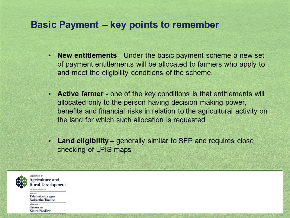 Basic Payment – key points to remember