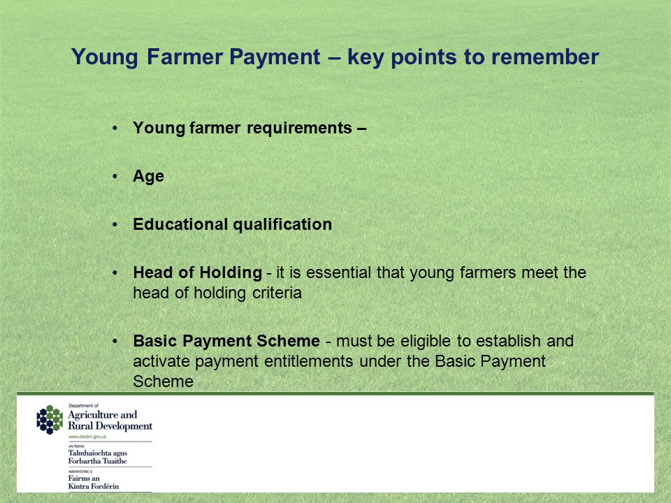 Young Farmer Payment – key points to remember