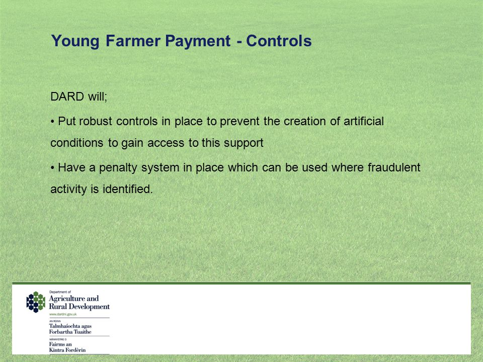 Young Farmer Payment - Controls