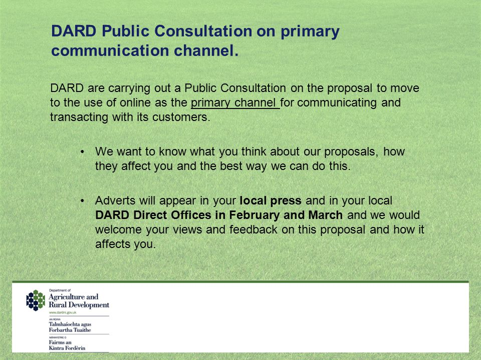 DARD Public Consultation on primary communication channel.