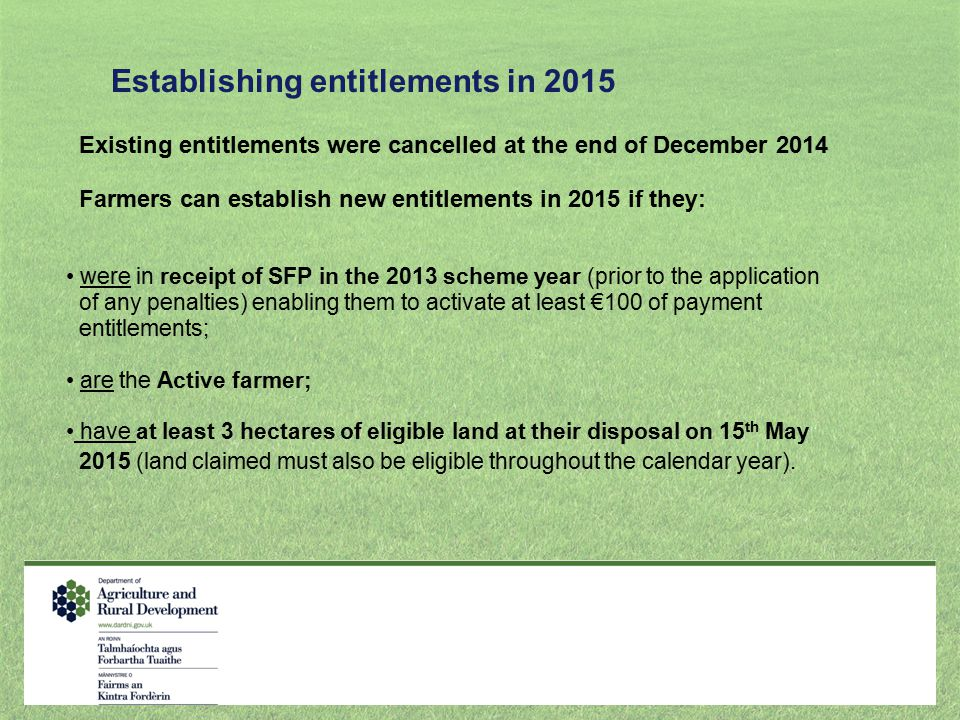Establishing entitlements in 2015
