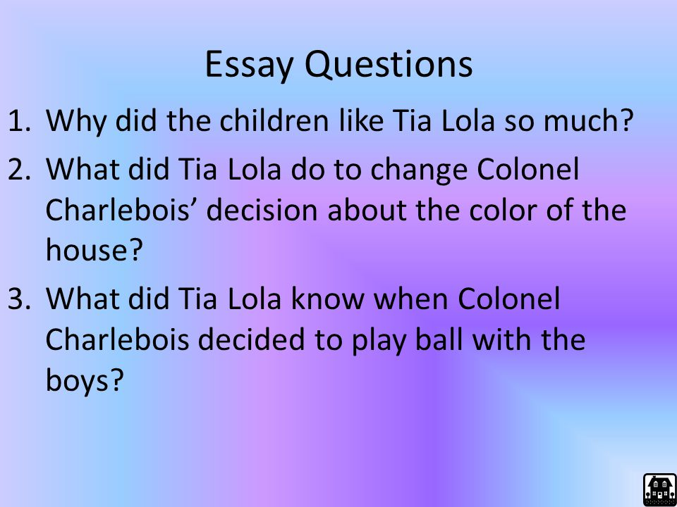 Essay Questions Why did the children like Tia Lola so much