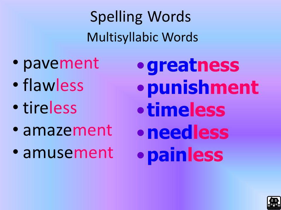 Spelling Words Multisyllabic Words