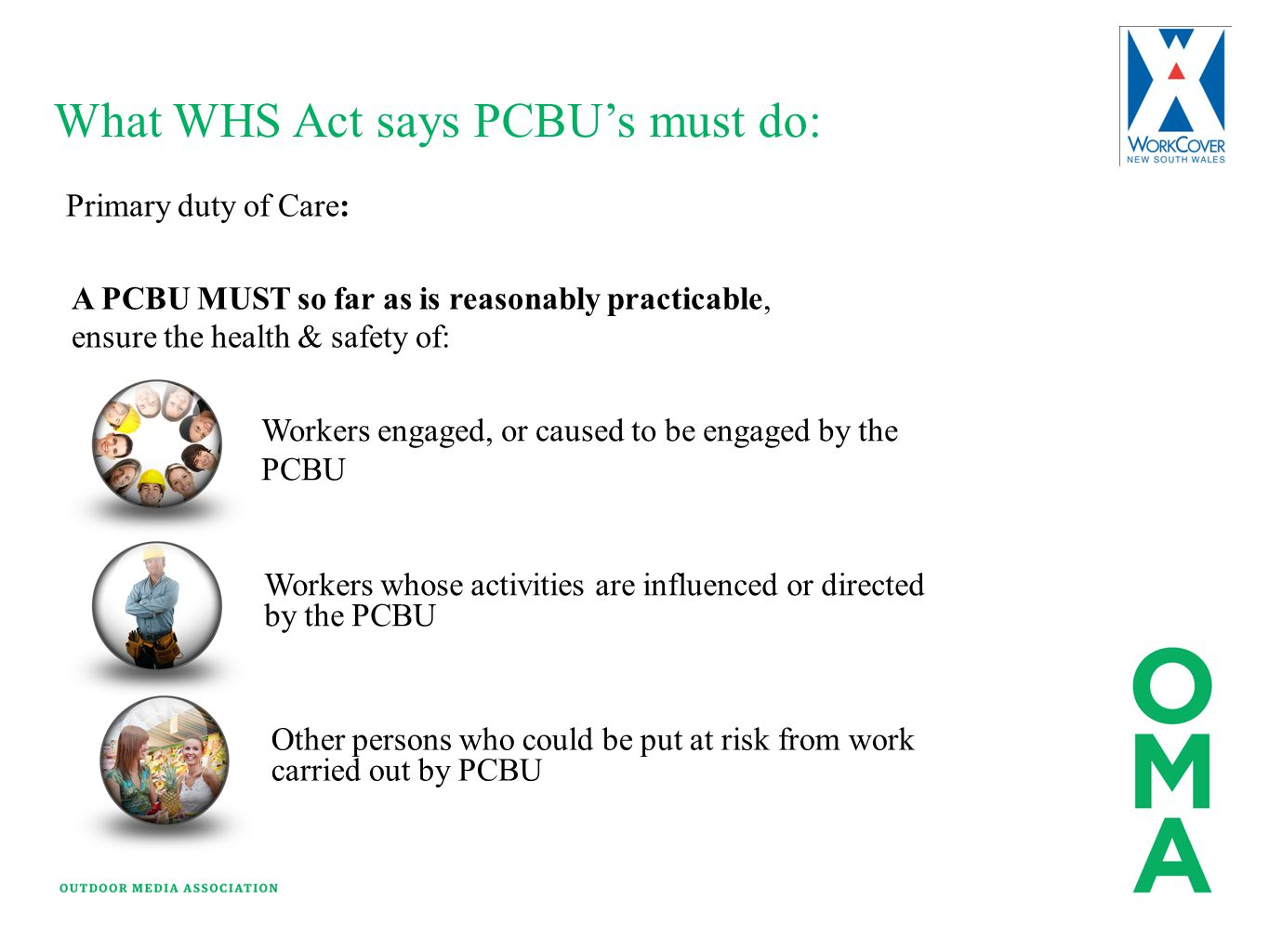 What WHS Act says PCBU's must do: